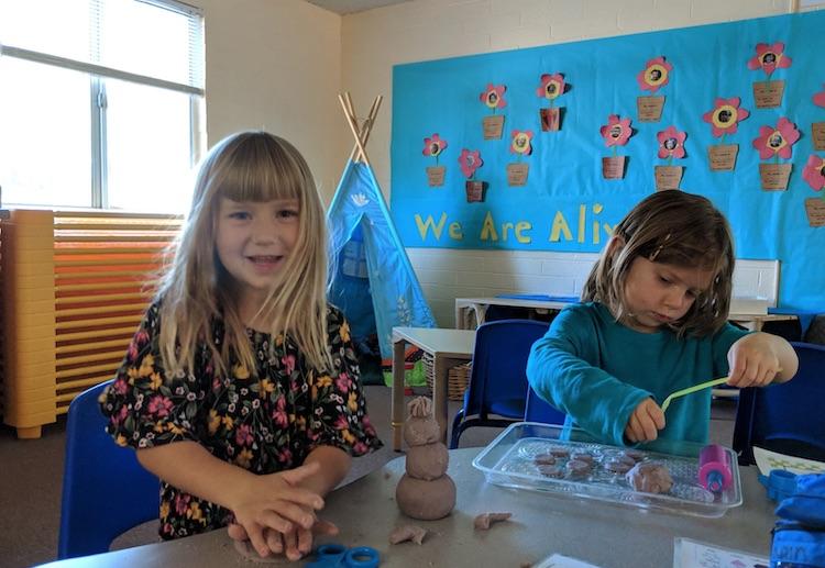 LTCS students using clay